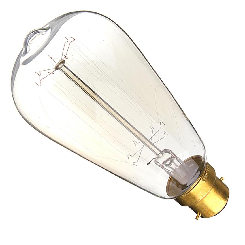 220V 60W Vintage Antique Edison Style Carbon Filamnet Clear Cage-B22 Glass Bulb (Intl)