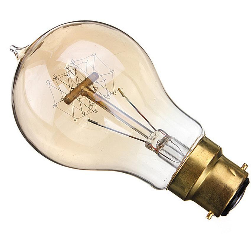 2PCS 220V 40W A19-B22 Vintage Antique Edison Style Carbon Filamnet Clear Glass Bulb (Intl)