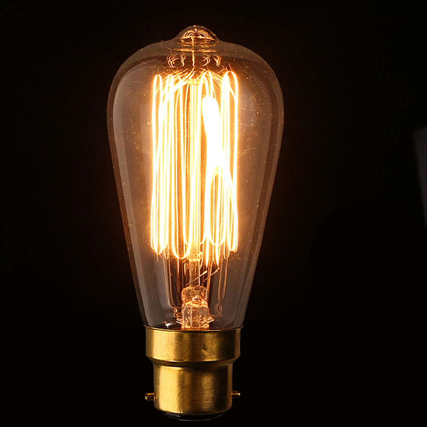 220V 60W Vintage Antique Edison Style Carbon Filamnet Clear Cage-B22 Glass Bulb (Intl)