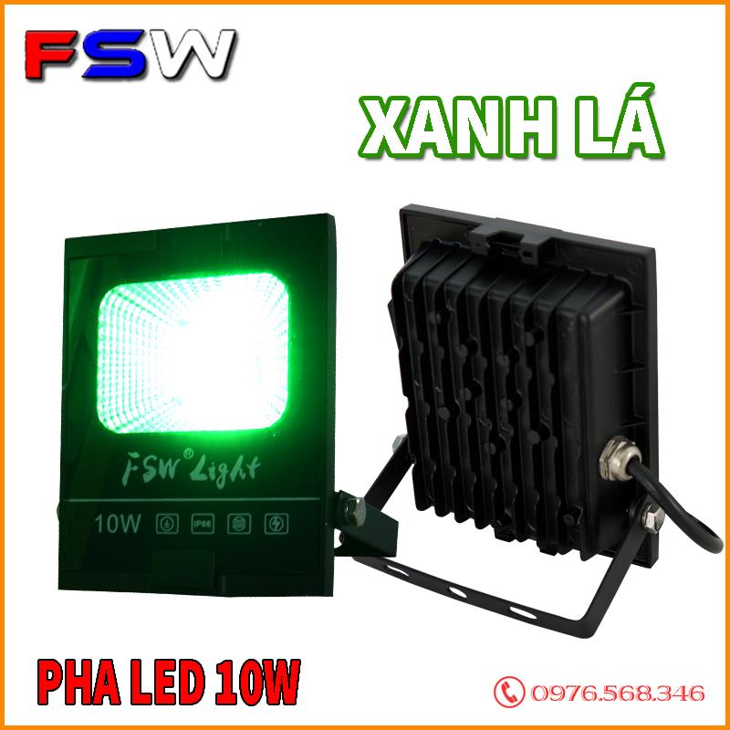 Đèn pha led FSW 10W  ánh sáng xanh lá
