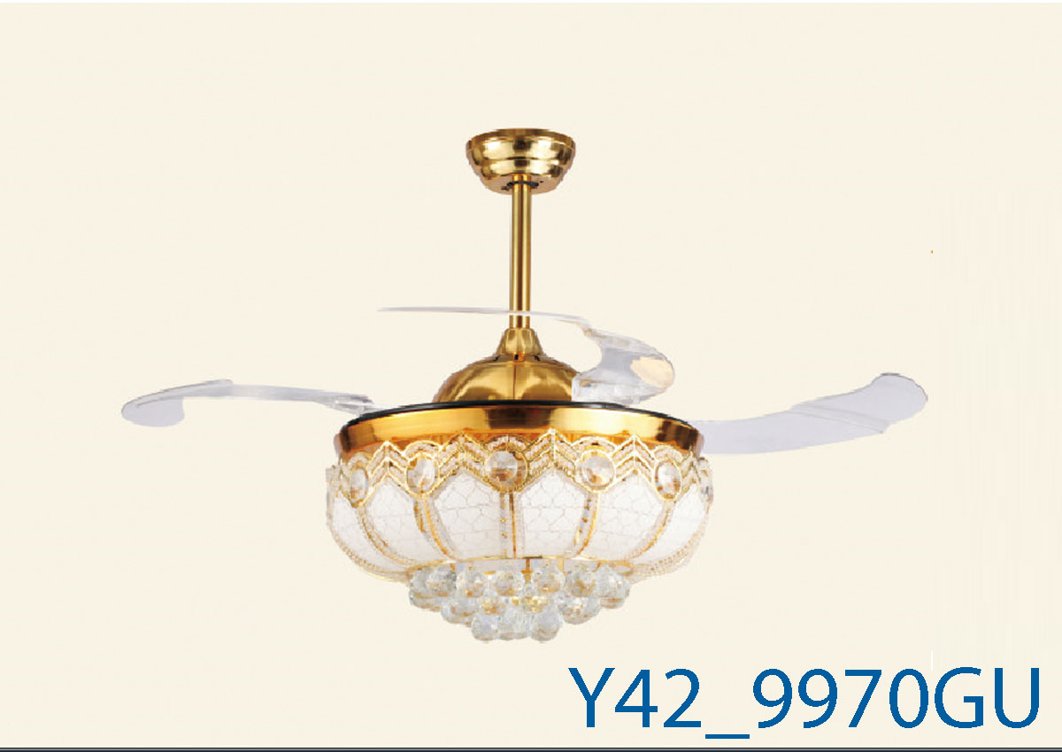 Đèn Quạt Trần Pha Lê Cánh Cụp-TH9970